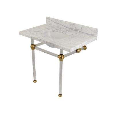Washstand 36 in. Console Table in Carrara Marble White with Acrylic Legs in Satin Brass