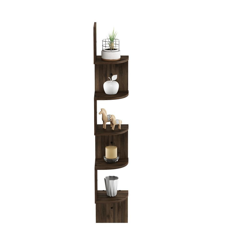5 Tier Columbia Walnut Wall Mount Floating Radial Corner Shelf