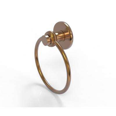 Mercury Collection Towel Ring with Twist Accent in Brushed Bronze