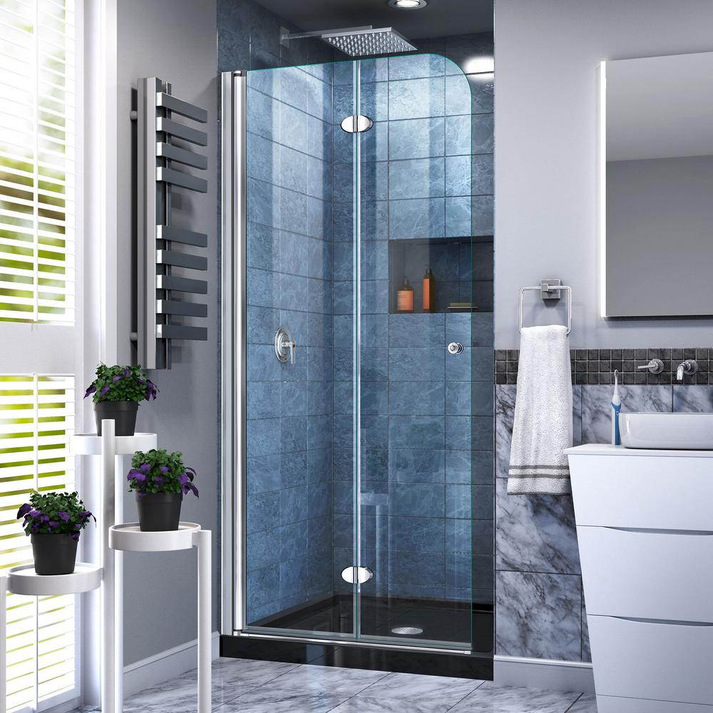 DreamLine 32 in. W x 74-3/4 in. H AquaFold Frameless Bi-Fold Shower Door in Chrome Acrylic Base Kit in Black
