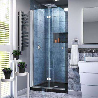 32 in. W x 74-3/4 in. H AquaFold Frameless Bi-Fold Shower Door in Chrome Acrylic Base Kit in Black