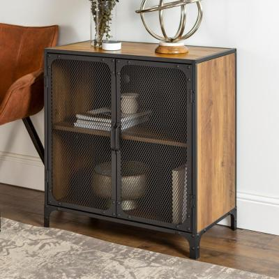 30 in. Rustic Barnwood Industrial Accent Cabinet with Mesh