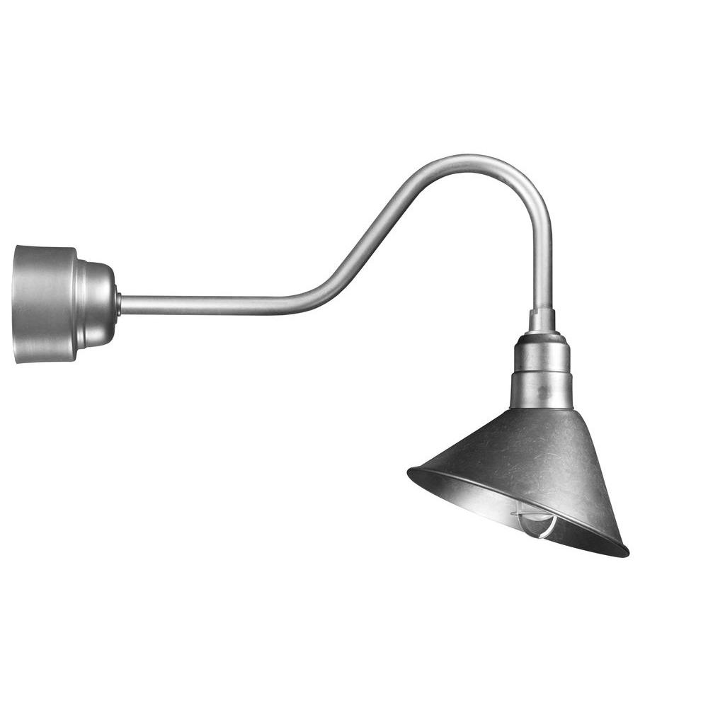 Illumine 1 Light Outdoor Galvanized Angled Arm Semi Flush