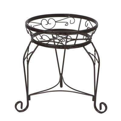15 in. Scroll Braided Bronze Steel Plant Stand