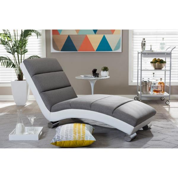 Baxton Studio Percy Modern Gray Faux Leather Upholstered Chaise 28862-6830-HD