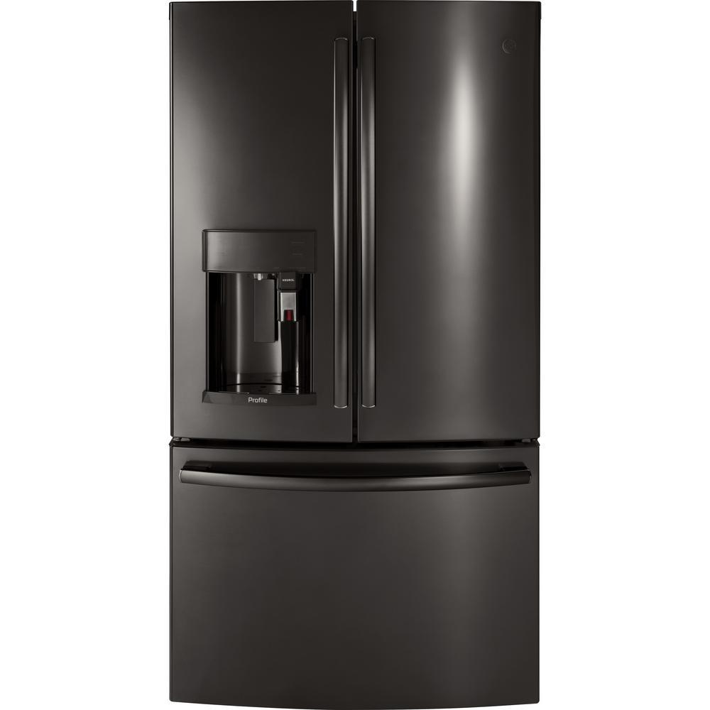 Profile 36 in. W 27.8 cu. ft. Smart French Door Refrigerator with Keurig in Black Stainless Steel, Fingerprint Resistant