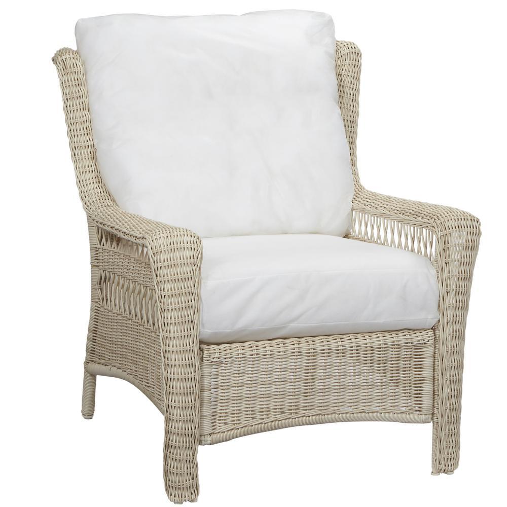 Hampton Bay Park Meadows Off White Custom Wicker Outdoor Lounge Chair 56 21451W