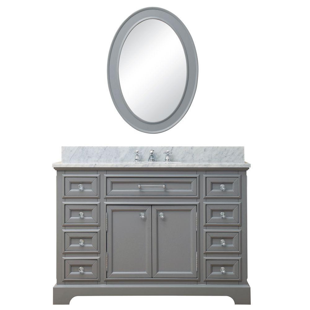 Water Creation 48 in. W x 21.5 in. D Vanity in Cashmere Grey with Marble Vanity Top in Carrara White, Mirror and Chrome Faucet