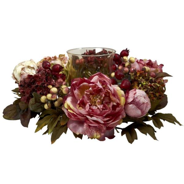 Nearly Natural 6.5 in. H Red Peony Hydrangea Candelabrum 4931
