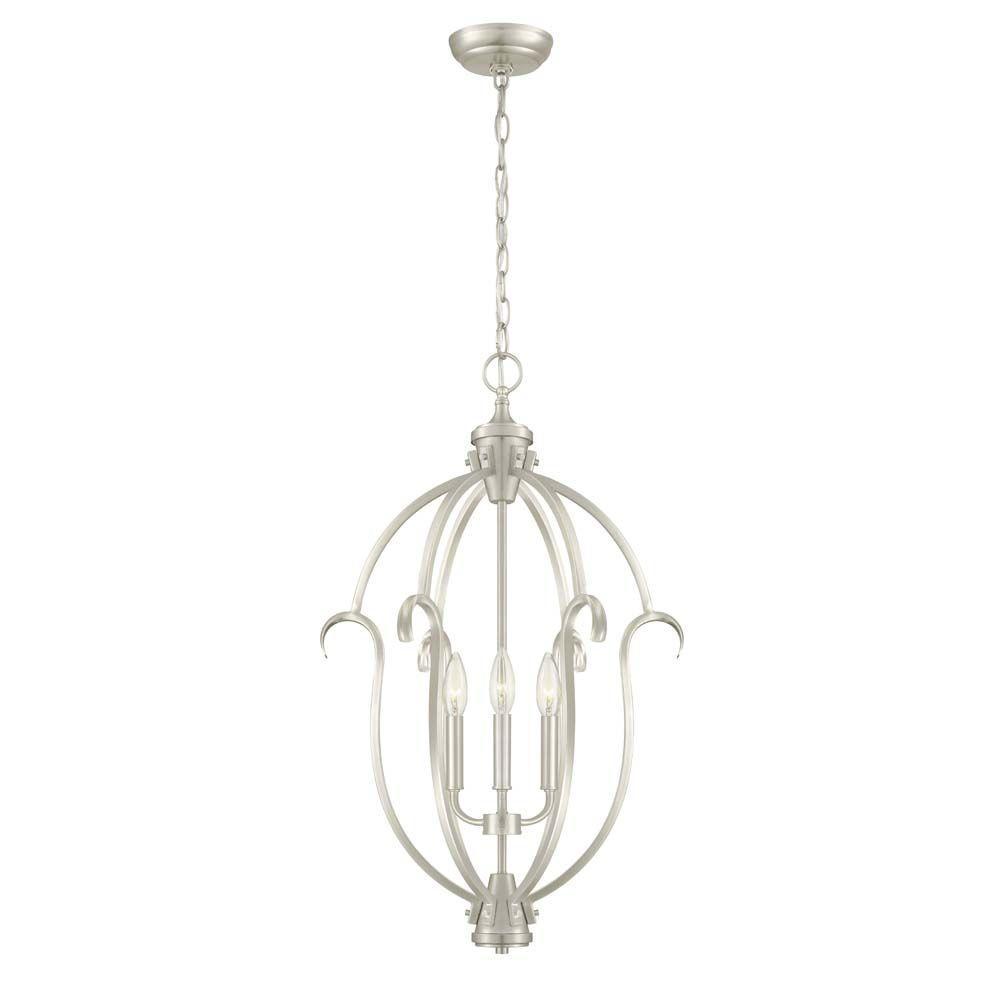 hampton bay sherwood 3-light steel brushed nickel hanging pendant-hb3432-35