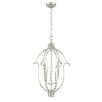 Hampton bay cage pendant lights lighting the home depot sherwood 3 light steel brushed nickel hanging pendant aloadofball Gallery