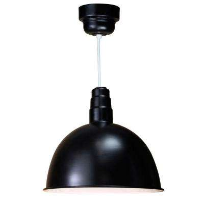 1-Light Outdoor Hanging Black Deep Bowl Pendant with Wire Guard