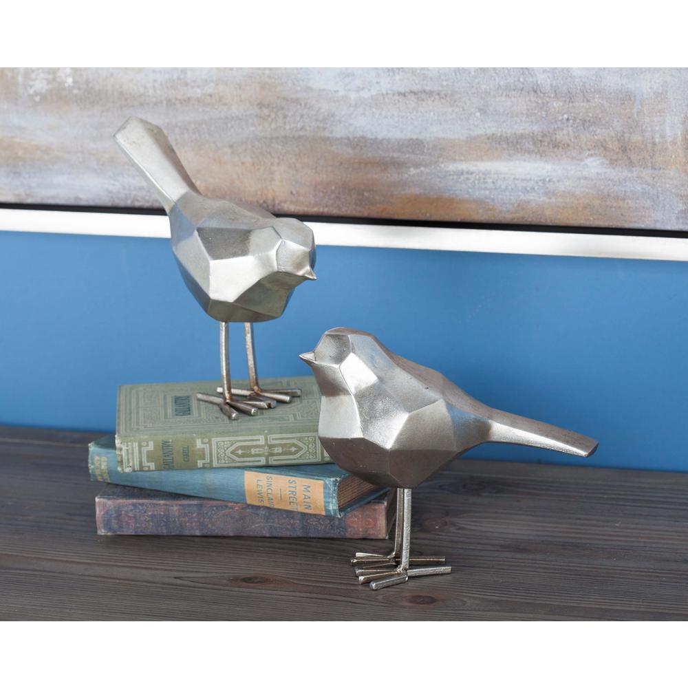 CosmoLiving by Cosmopolitan Geometric Bird Decorative Sculptures in Silver (Set