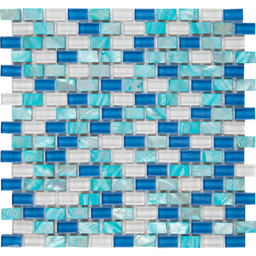 Aqua Pearl 12 in. x 12 in. x 8mm Glass Mesh-Mounted