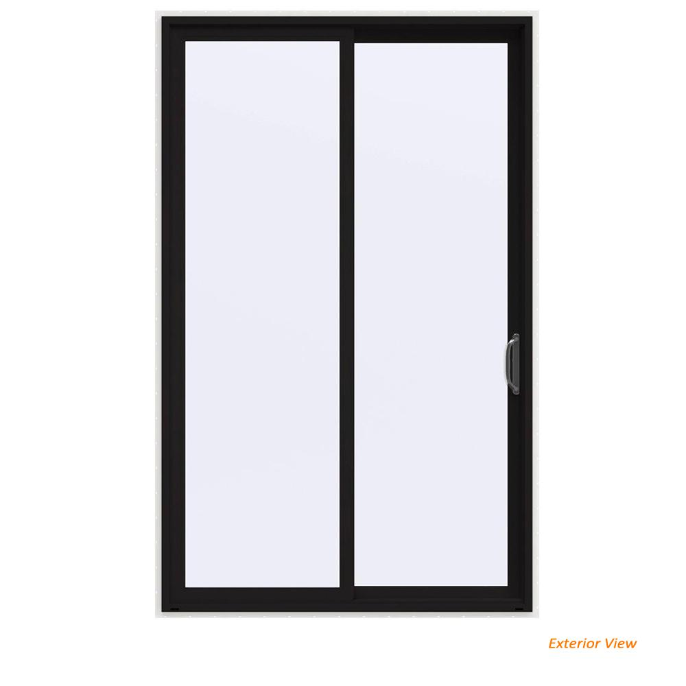JELD-WEN 60 in. x 96 in. V-4500 Contemporary Black Painted Vinyl Right-Hand Full Lite Sliding Patio Door w/White Interior