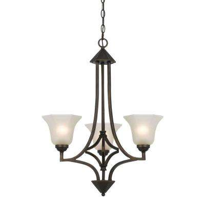 3-Light Hand Forged Dark Bronze Iron Westbrook Ceiling Mount Chandelier with Glass Shades