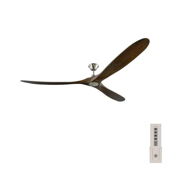 Maverick Super Max 88 in. Indoor/Outdoor Brushed Steel Ceiling Fan with Dark Walnut Blades, DC Motor and Remote Control