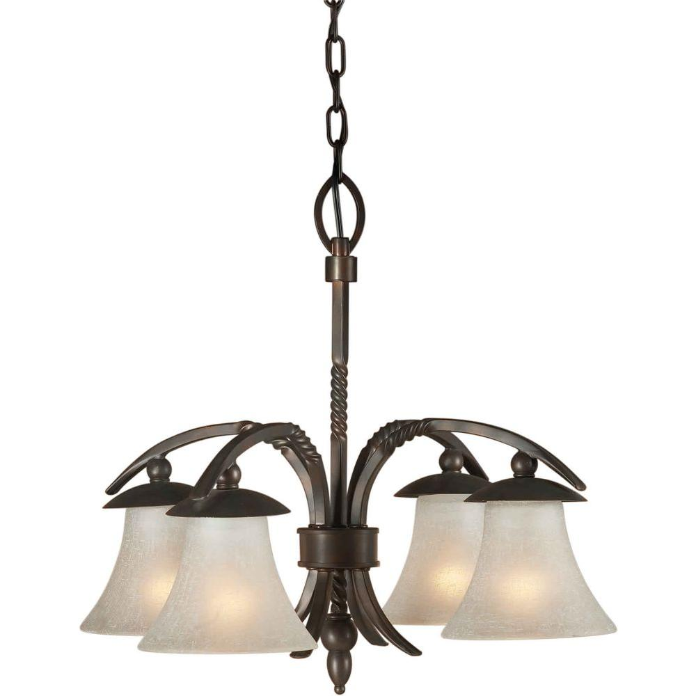 Talista 4 Light Chandelier Antique Bronze Finish Umber Linen Glass