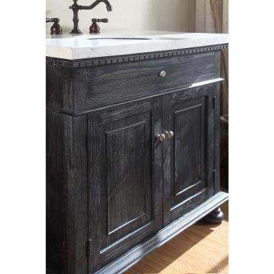 Lincoln 35 in. W x 21 in. D Vanity in Black with Marble Vanity Top in White with White Basin