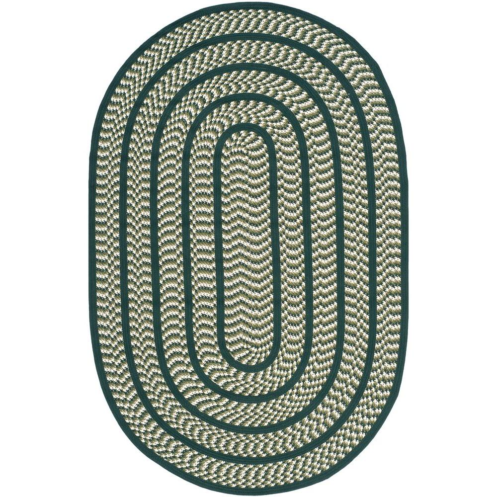 Braided Ivory/Dark Green 5 ft. x 8 ft. Oval Area Rug