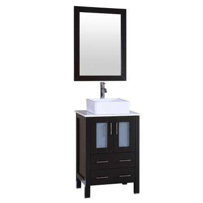 24 in. W Single Bath Vanity with Pheonix Stone Vanity Top in White with White Basin and Mirror