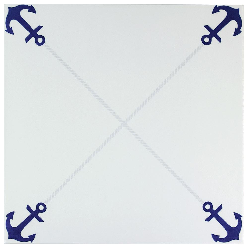 Merola Tile Anclas Azul 12-3/8 in. x 12-3/8 in. Ceramic Floor and Wall Tile (11.07 sq. ft. / case)