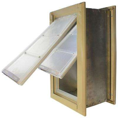 10 in. x 18 in. Large Double Flap for Walls with Tan Aluminum Frame