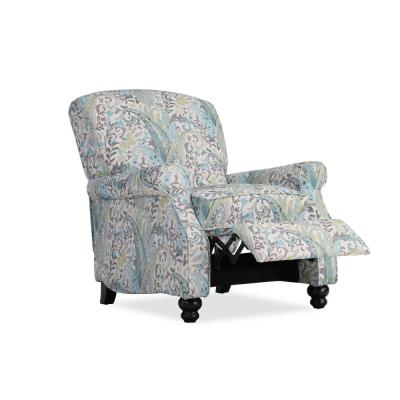 Push Back in Multi Sky Blue Paisley Upholstered Recliner Chair