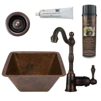 All-in-One Dual Mount Hammered Copper 15 in. 0-Hole Square Bar Sink in Oil Rubbed Bronze