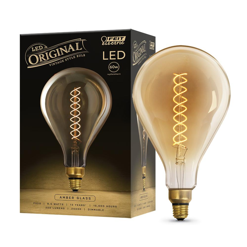 Feit Electric 60W Equivalent PS50 Dimmable LED Amber Glass Vintage Edison Oversized Light Bulb With Spiral Filament Soft White