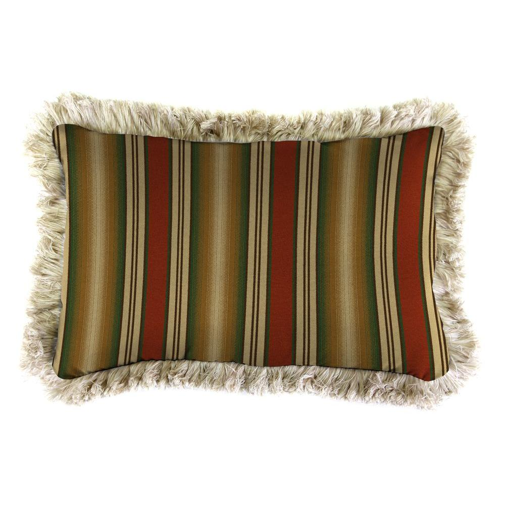 Jordan Manufacturing Sunbrella 9 in. x 22 in. Weston Ginger Lumbar Outdoor Pillow with Canvas Fringe