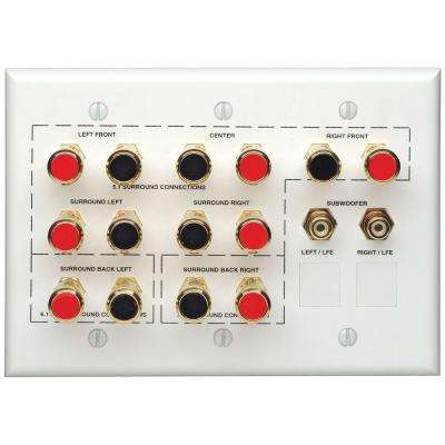 Home Theater Interface Wall Plate, White