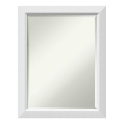 Blanco 22 in. W x 28 in. H Framed Rectangular Beveled Edge Bathroom Vanity Mirror in Satin White