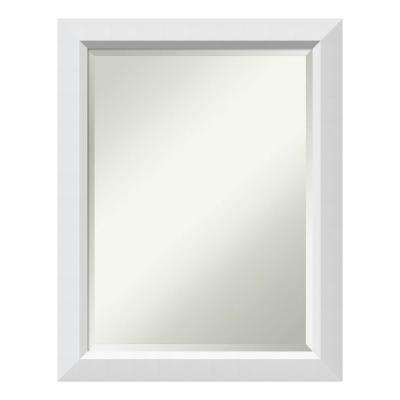 Blanco White Wood 22 in. x 28 in. Contemporary Bathroom Vanity Mirror