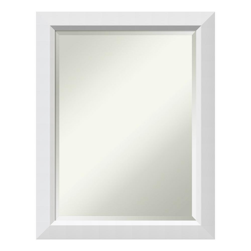 Blanco 22 in. W x 28 in. H Framed Rectangular Beveled Edge Bathroom Vanity Mirror in Satin White