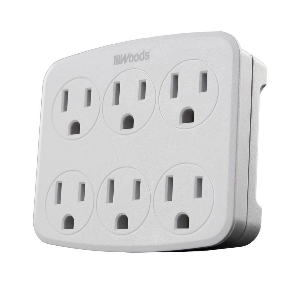 Woods 6-Outlet Wall Tap with Phone Cradle
