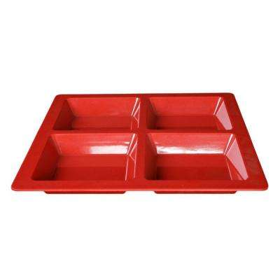 Jazz 60 oz., 13-1/2 in. x 13-1/2 in. x 1 3/8 in. Square 4 Section Compartment Tray in Red (1-Piece)