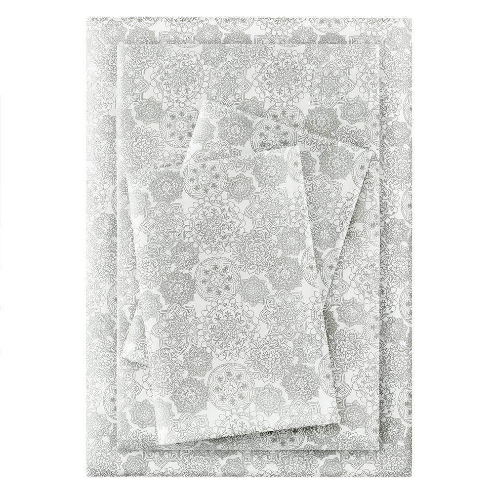 Brushed Soft Microfiber 4-Piece Queen Sheet Set in Stencil Moss