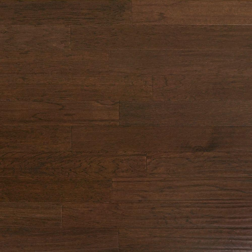 Heritage Mill Take Home Sample Scraped Hickory Ember Engineered Click Hardwood Flooring 5 In. X 7 In.