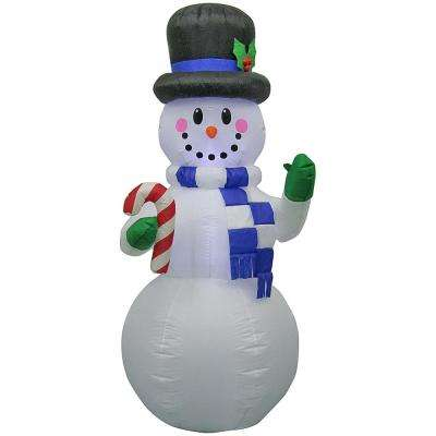 34.25 in. W x 29.92 in. D x 77.95 in. H Airblown-Snowman with Candy Cane