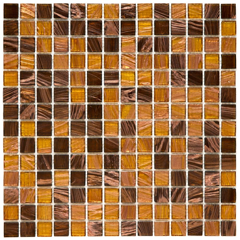 Merola Tile Coppa Amber 12 in. x 12 in. x 4 mm Glass Mosaic Tile ...