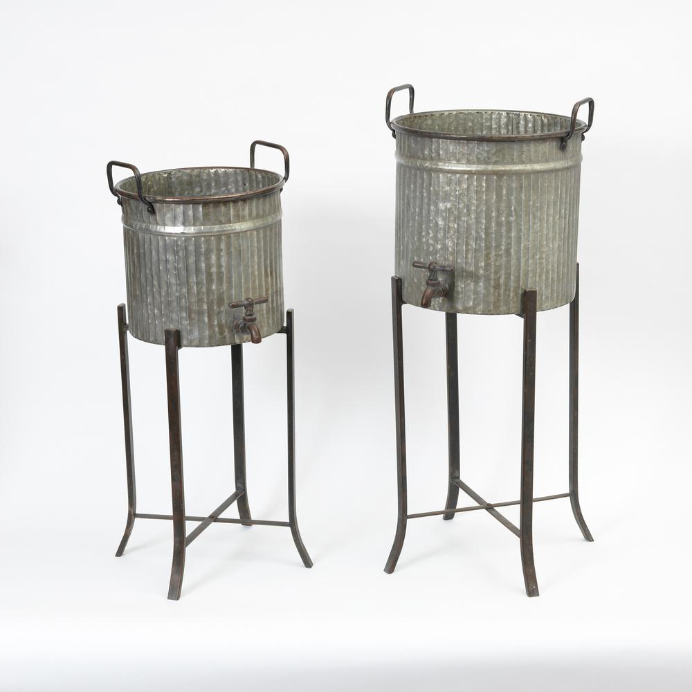 Round Galvanized Metal Faucet Planters With Stands 2 Pack