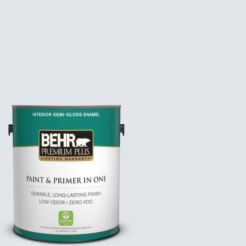 1-gal. #610E-2 Winter Day Zero VOC Semi-Gloss Enamel Interior Paint