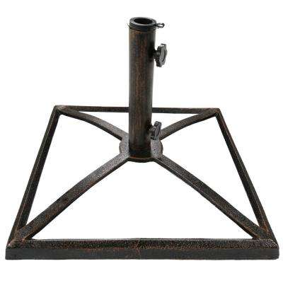 17 in. Square Bronze Cast Iron Outdoor Patio Umbrella Base Stand in Black