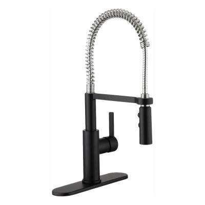 Statham Single-Handle Coil Spring Neck Kitchen Faucet with TurboSpray in Dual Finish Stainless Steel & Matte Black