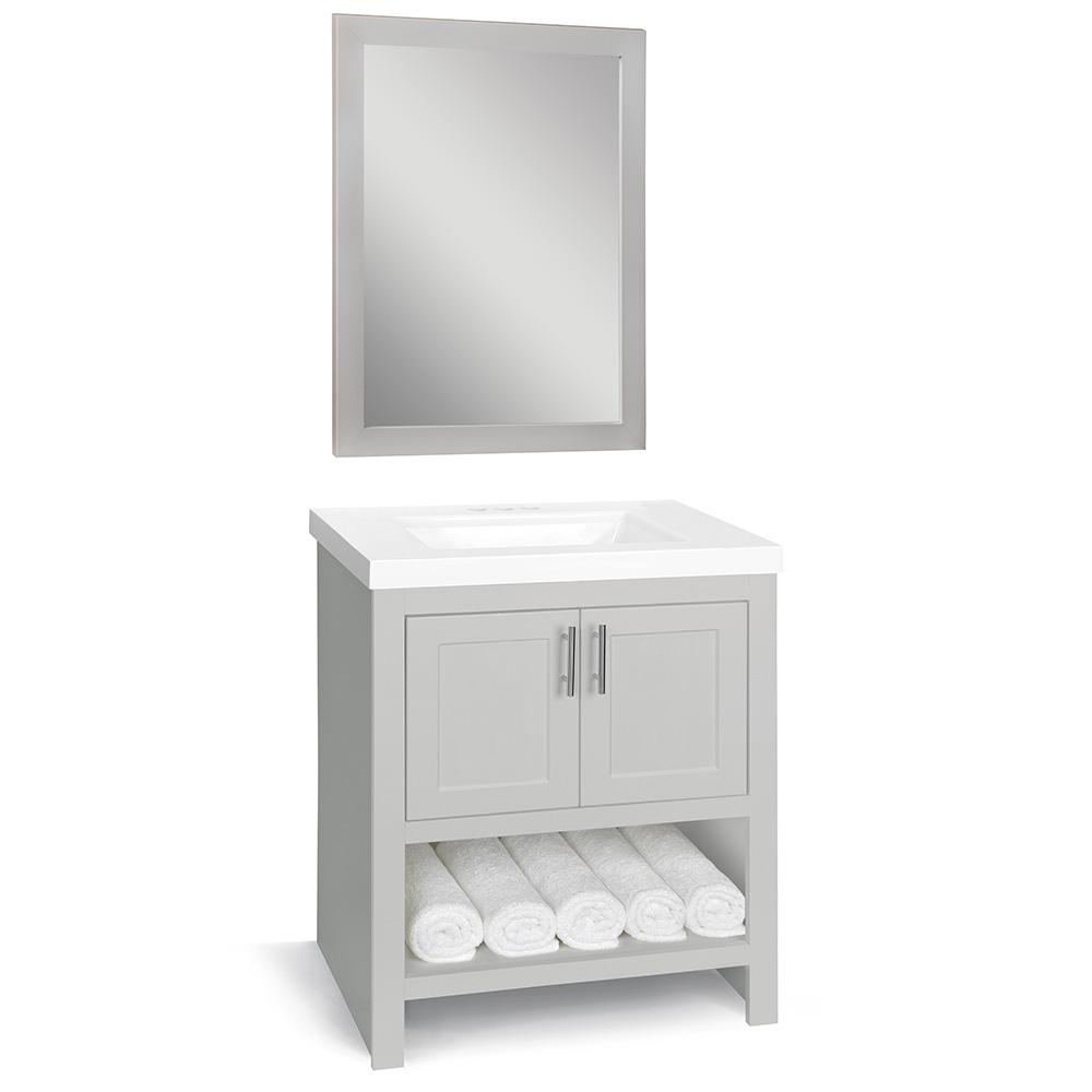 Glacier Bay Spa 30 in. W x 18.75 in. D Bath Vanity in Dove Gray with Cultured Marble Vanity Top in White with White Sink and Mirror