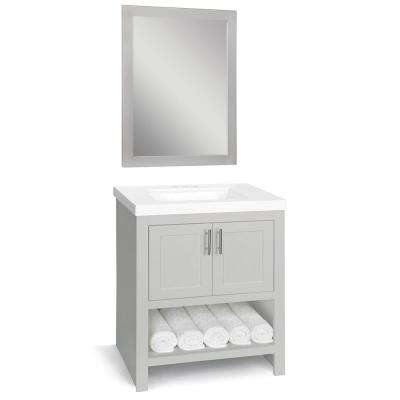 Spa 30 in. W x 18.75 in. D Bath Vanity in Dove Gray with Cultured Marble Vanity Top in White with White Sink and Mirror