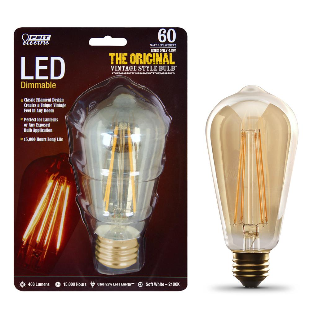 Feit Electric 60W Equivalent ST19 Dimmable LED Clear Glass Vintage Edison Light Bulb With Vertical Filament Soft White