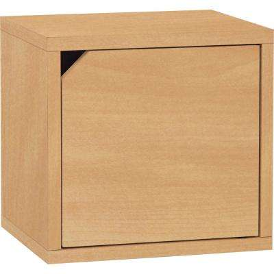 Connect System 11.2 in. x 13.4 in. x 13.4 in. zBoard  Stackable Storage Cube Organizer Unit with Door in Natural Grain