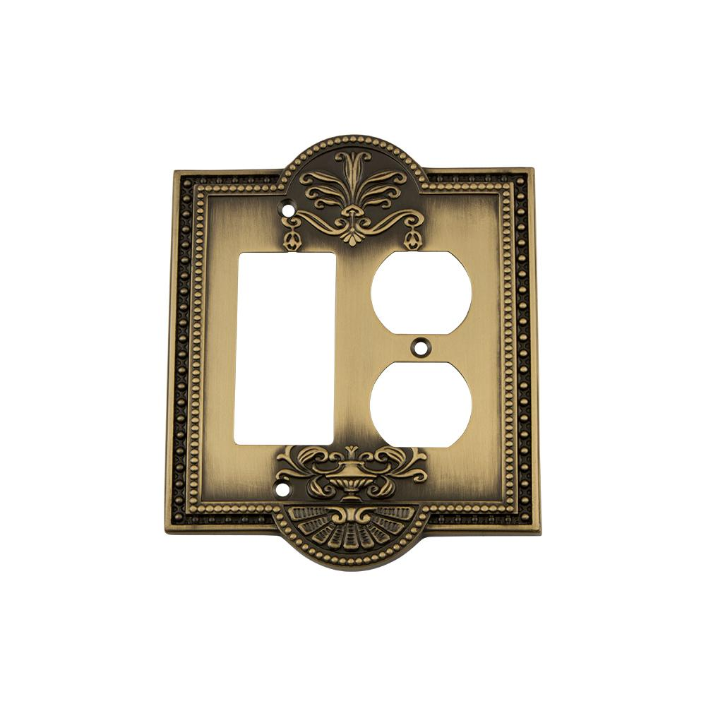Meadows Switch Plate with Rocker and Outlet in Antique Brass